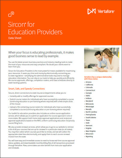 Sircon for Education Providers Data Sheet